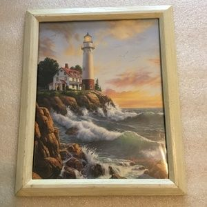 Colorful old print of lighthouse - J.J. Himsworth